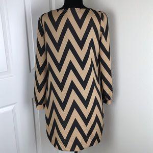 Tobi Dresses - Tobi long sleeve tan black chevron striped dress